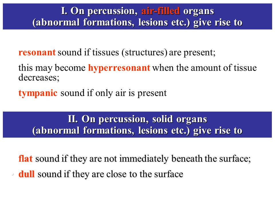 I. On percussion, air-filled organs (abnormal formations, lesions etc.) give rise to resonant sound if tissues (structures) are present; this may beco
