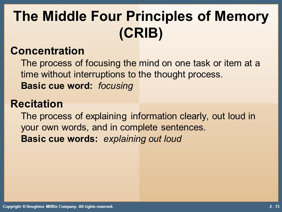 Copyright © Houghton Mifflin Company. All rights reserved.2 - 13 The Middle Four Principles of Memory (CRIB) Concentration The process of focusing the