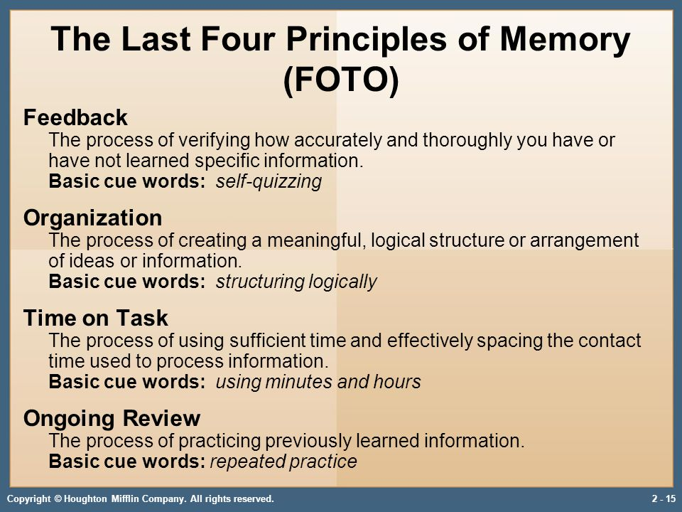 Copyright © Houghton Mifflin Company. All rights reserved.2 - 15 The Last Four Principles of Memory (FOTO) Feedback The process of verifying how accur