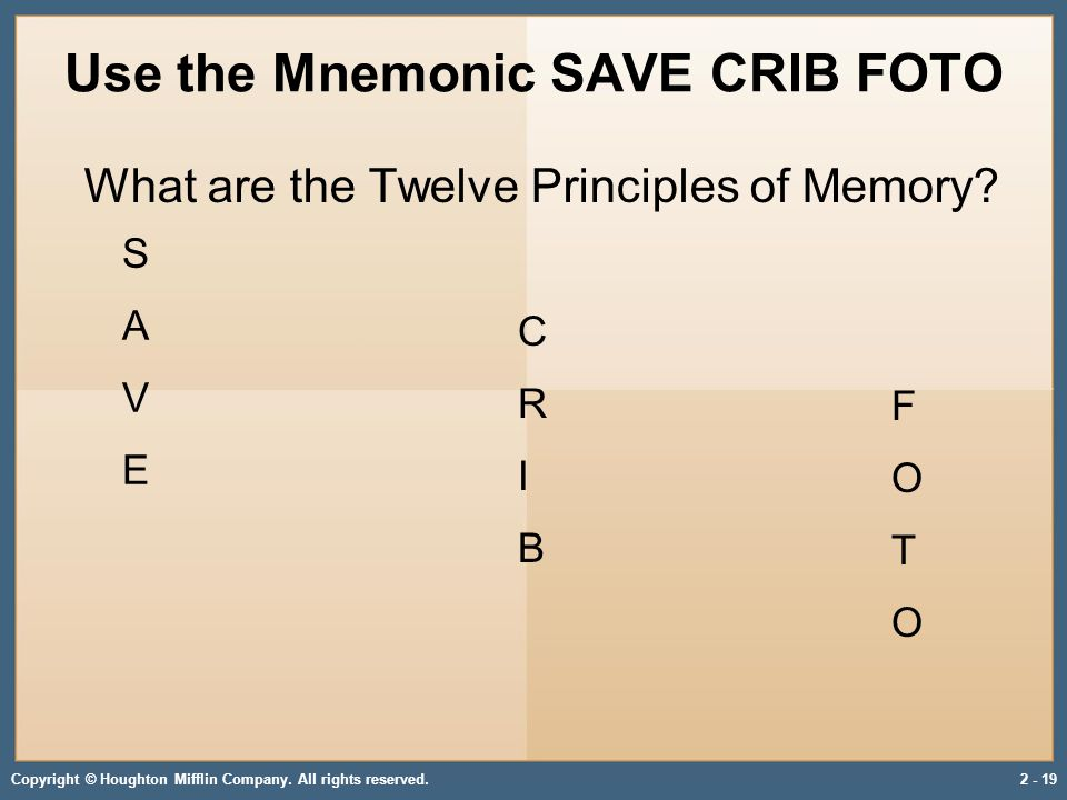 Copyright © Houghton Mifflin Company. All rights reserved.2 - 19 Use the Mnemonic SAVE CRIB FOTO What are the Twelve Principles of Memory? F O T O CRI