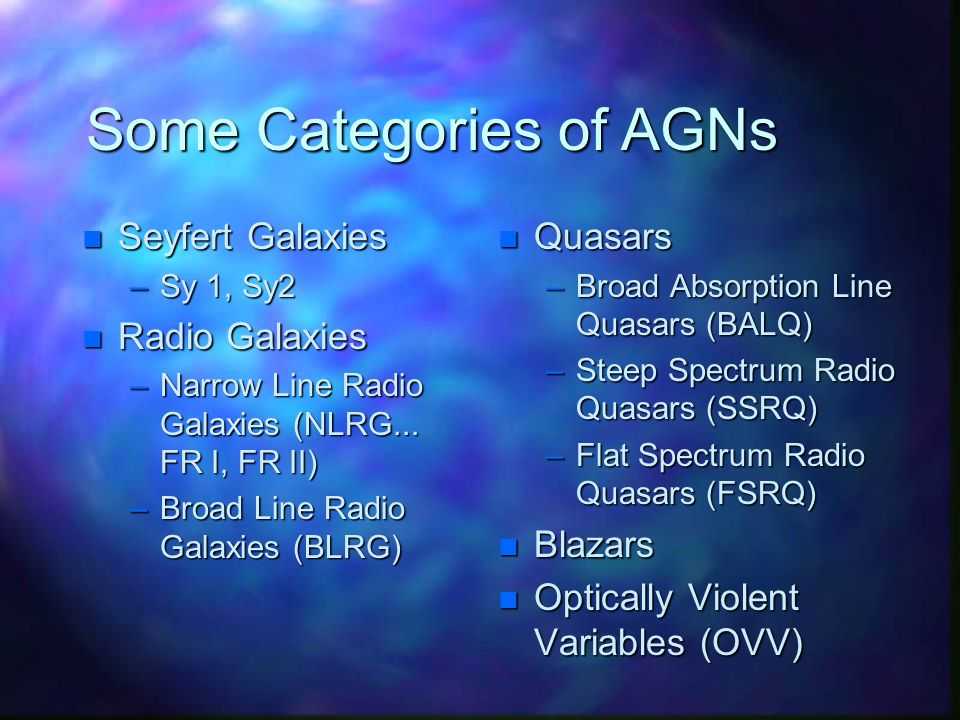 Some Categories of AGNs n Seyfert Galaxies –Sy 1, Sy2 n Radio Galaxies –Narrow Line Radio Galaxies (NLRG...