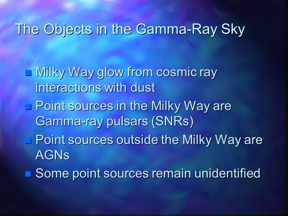The Objects in the Gamma-Ray Sky n Milky Way glow from cosmic ray interactions with dust n Point sources in the Milky Way are Gamma-ray pulsars (SNRs) n Point sources outside the Milky Way are AGNs n Some point sources remain unidentified