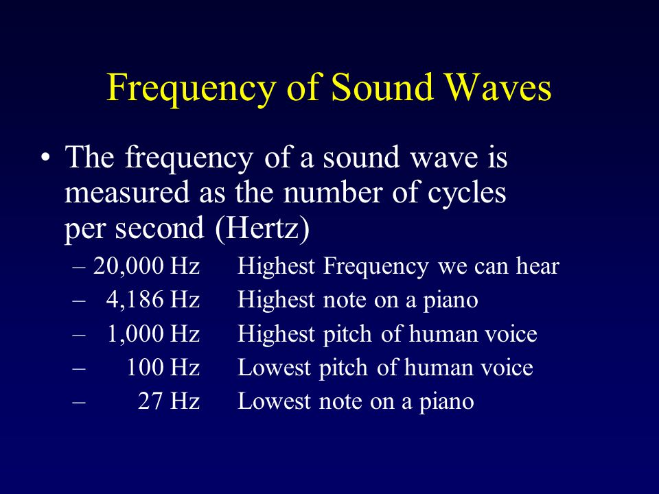 Frequency of Sound Waves The frequency of a sound wave is measured as the number of cycles per second (Hertz) –20,000 HzHighest Frequency we can hear – 4,186 HzHighest note on a piano – 1,000 HzHighest pitch of human voice – 100 HzLowest pitch of human voice – 27 HzLowest note on a piano