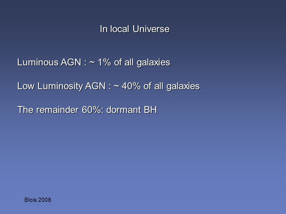 Blois 2008 In local Universe Luminous AGN : ~ 1% of all galaxies Low Luminosity AGN : ~ 40% of all galaxies The remainder 60%: dormant BH