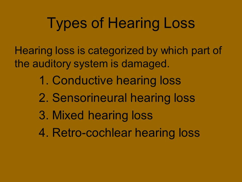 Types of Hearing Loss Hearing loss is categorized by which part of the auditory system is damaged. 1. Conductive hearing loss 2. Sensorineural hearing