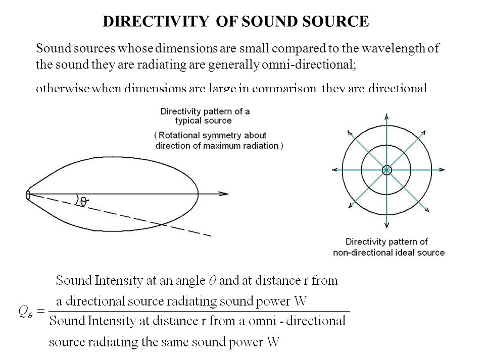 Sound sources whose dimensions are small compared to the wavelength of the sound they are radiating are generally omni-directional; otherwise when dim