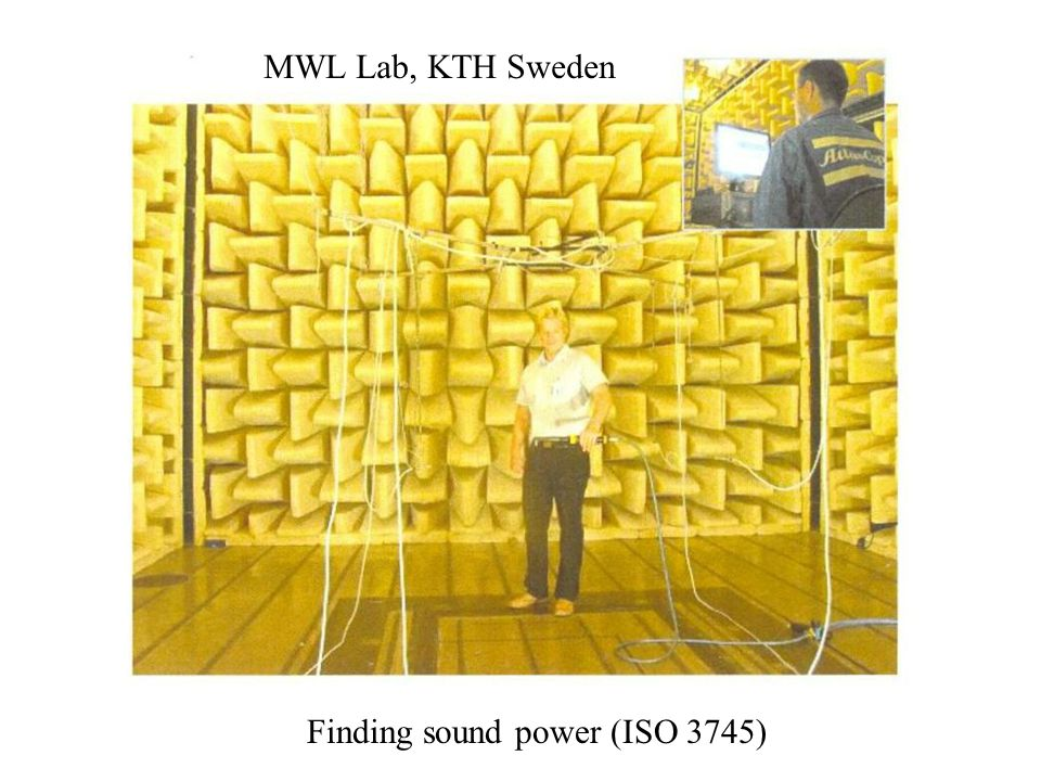 Finding sound power (ISO 3745) MWL Lab, KTH Sweden