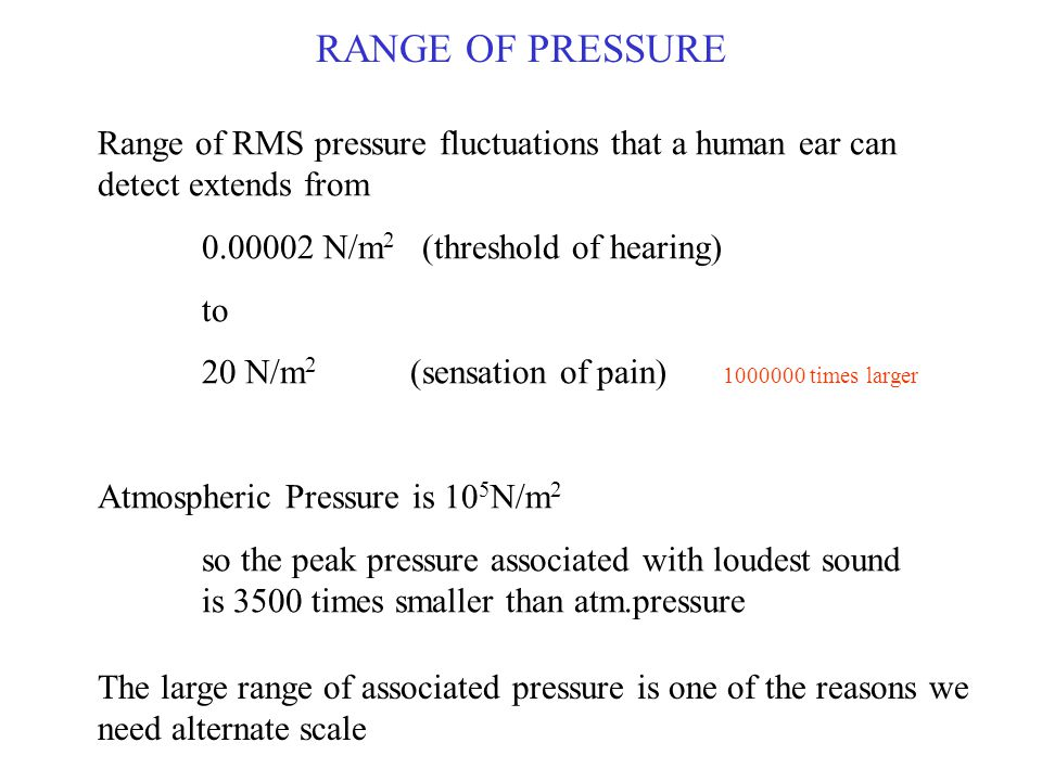 Range of RMS pressure fluctuations that a human ear can detect extends from 0.00002 N/m 2 (threshold of hearing) to 20 N/m 2 (sensation of pain) 10000