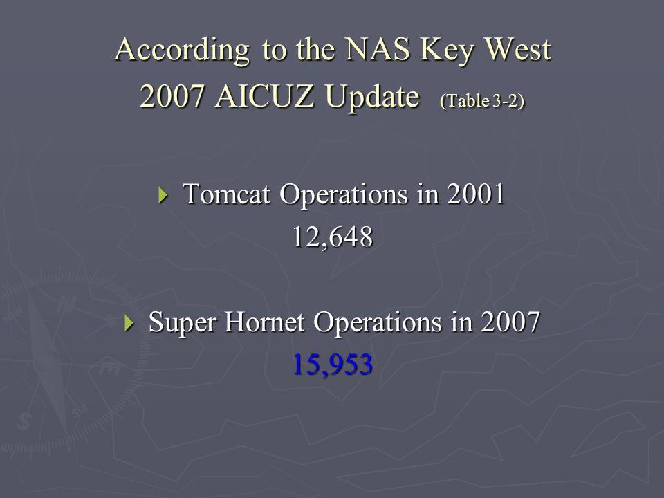 According to the NAS Key West 2007 AICUZ Update (Table 3-2)  Tomcat Operations in 2001 12,648  Super Hornet Operations in 2007 15,953