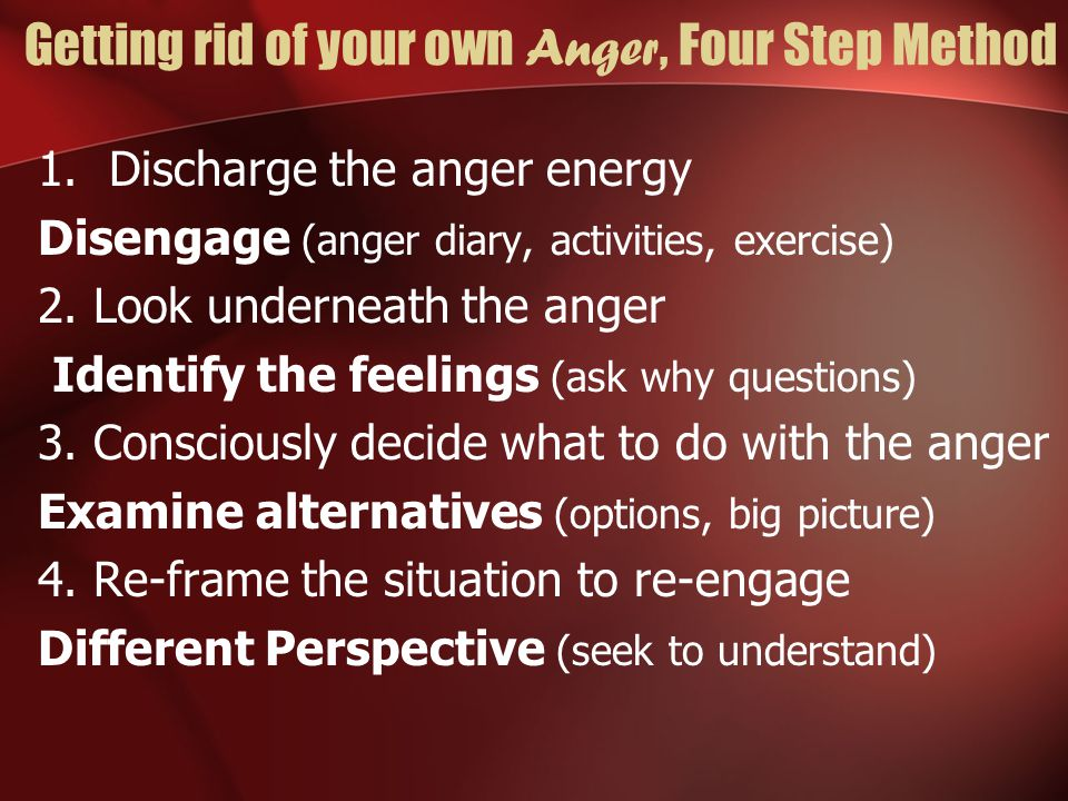 Anger Do's and Don'ts, what to teach others Not using terms: You did this and that Use I in speech: I feel….