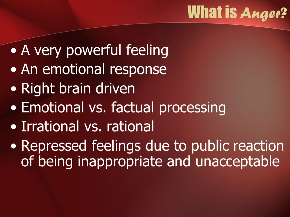 Avoidant, Anxious Personality and Anger Fear driven, intense, clipped tone, tense Critical and judgmental if let down Driven by fear of consequences Uses humor to disguise anger Stressed, frustrated, overwhelmed, Avoidance, withhold love and affection, not talking about anger