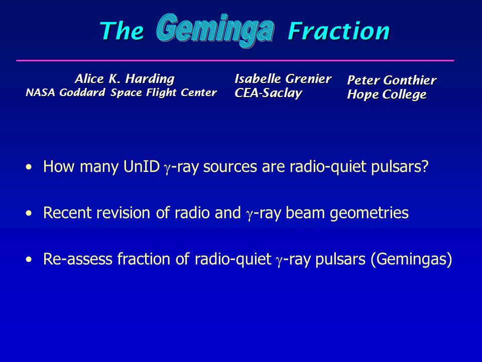 The Fraction Alice K. Harding NASA Goddard Space Flight Center Alice K. Harding NASA Goddard Space Flight Center How many UnID  -ray sources are rad