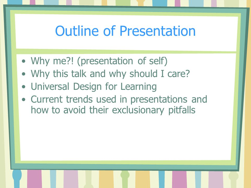 PowerPoint Presentations Becoming more popular Allow for multiple representation formats: visual, textual and when read out loud also auditory for people with a variety of learning styles So..