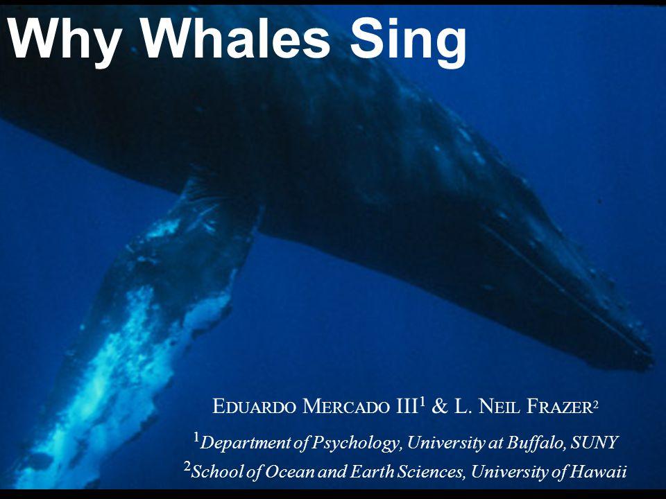 E DUARDO M ERCADO III 1 & L. N EIL F RAZER 2 1 Department of Psychology, University at Buffalo, SUNY 2 School of Ocean and Earth Sciences, University
