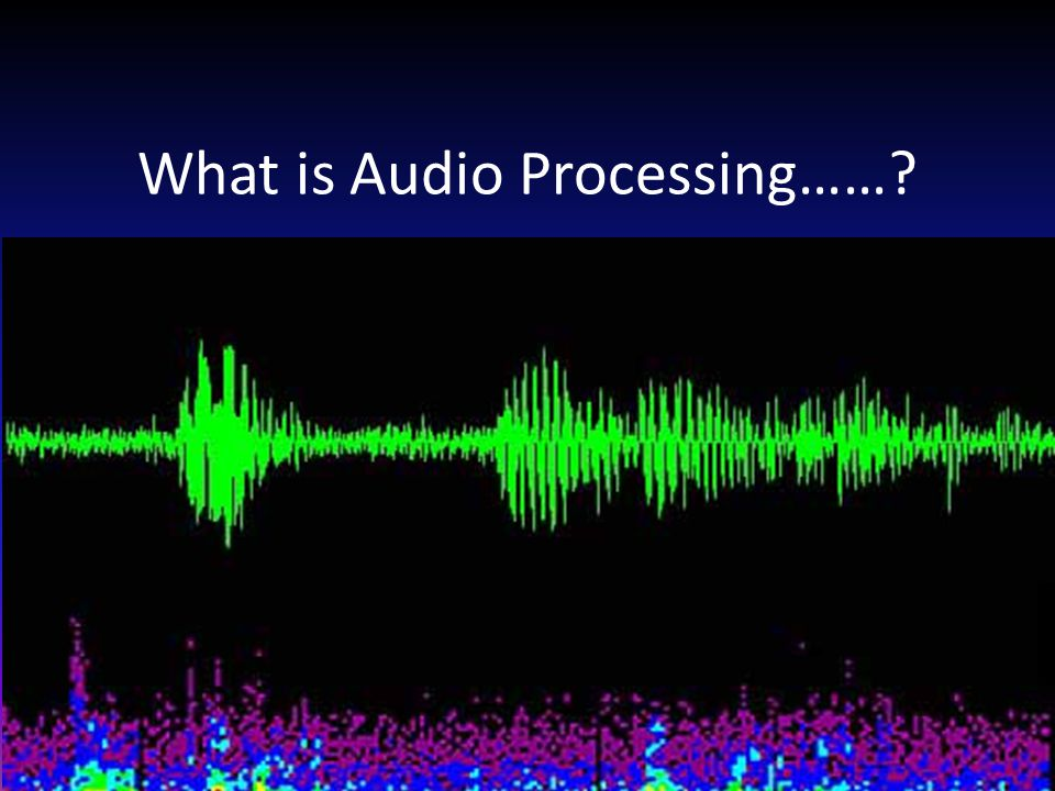 What is Audio Processing……