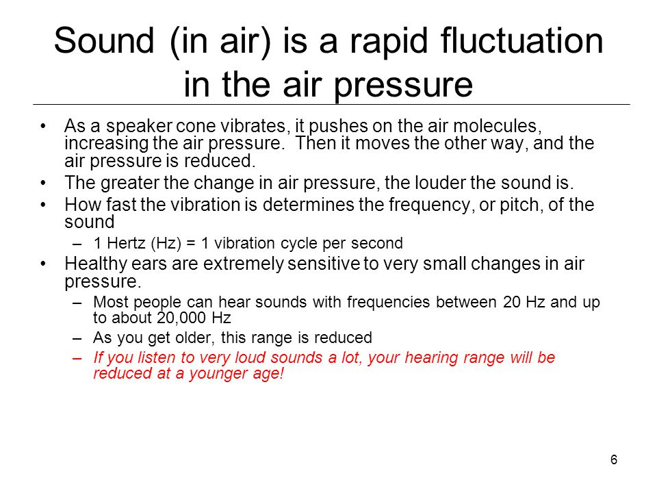6 Sound (in air) is a rapid fluctuation in the air pressure As a speaker cone vibrates, it pushes on the air molecules, increasing the air pressure.