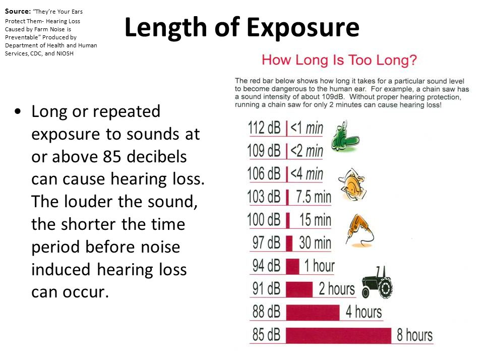 Length of Exposure Long or repeated exposure to sounds at or above 85 decibels can cause hearing loss. The louder the sound, the shorter the time peri