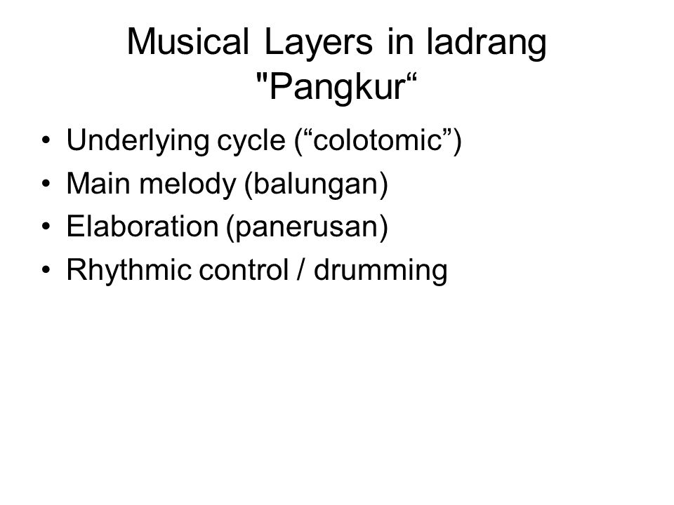 Musical Layers in ladrang