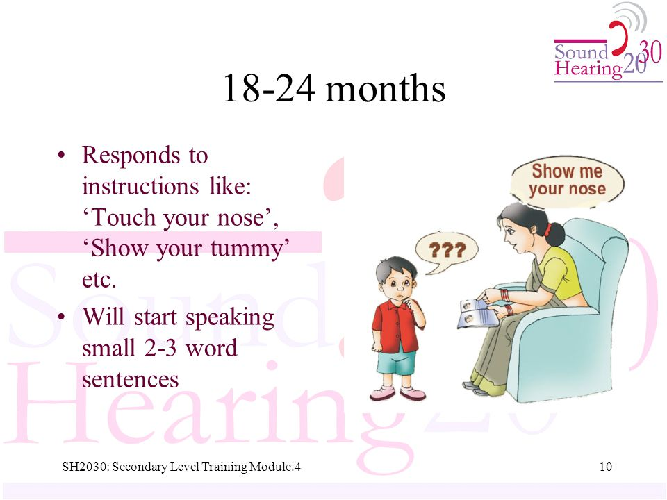 18-24 months Responds to instructions like: 'Touch your nose', 'Show your tummy' etc.