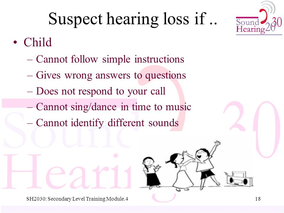 SH2030: Secondary Level Training Module.418 Suspect hearing loss if..