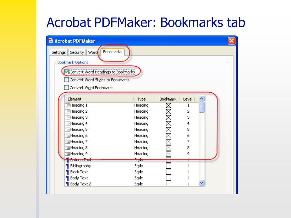 Acrobat PDFMaker: Bookmarks tab