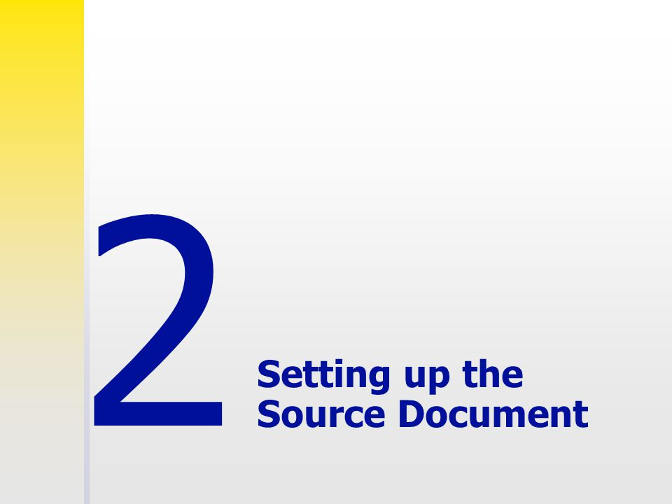 Setting up the Source Document 2