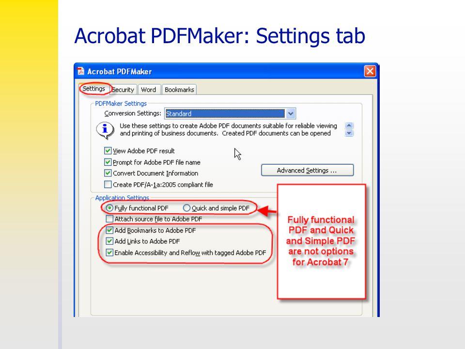 Acrobat PDFMaker: Settings tab
