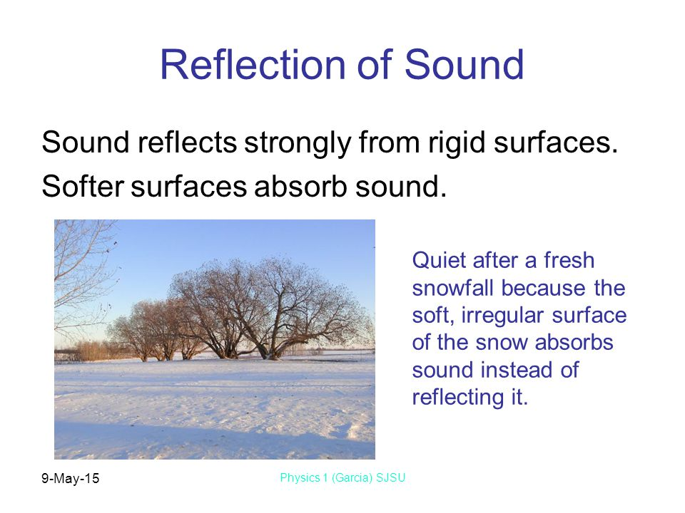9-May-15 Physics 1 (Garcia) SJSU Reflection of Sound Sound reflects strongly from rigid surfaces.