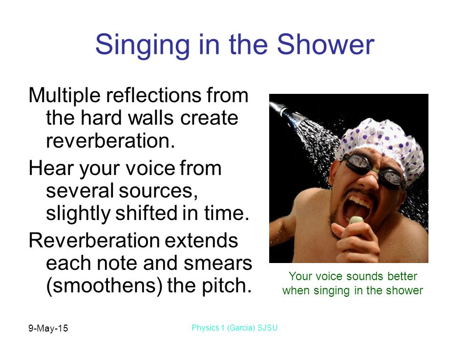 9-May-15 Physics 1 (Garcia) SJSU Singing in the Shower Multiple reflections from the hard walls create reverberation.