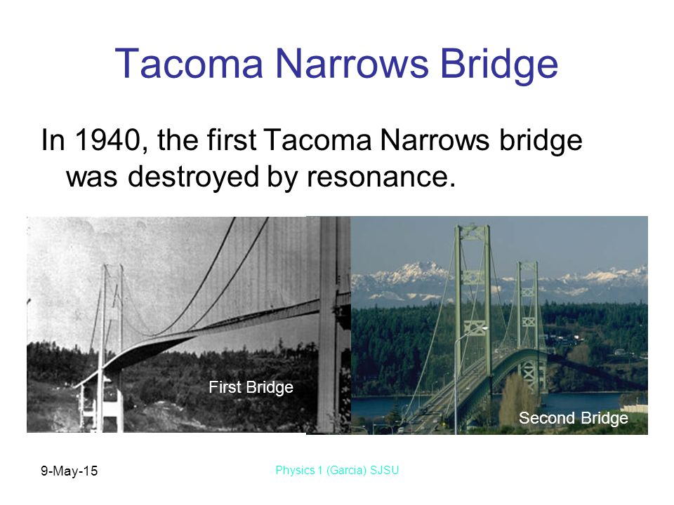9-May-15 Physics 1 (Garcia) SJSU Tacoma Narrows Bridge In 1940, the first Tacoma Narrows bridge was destroyed by resonance.