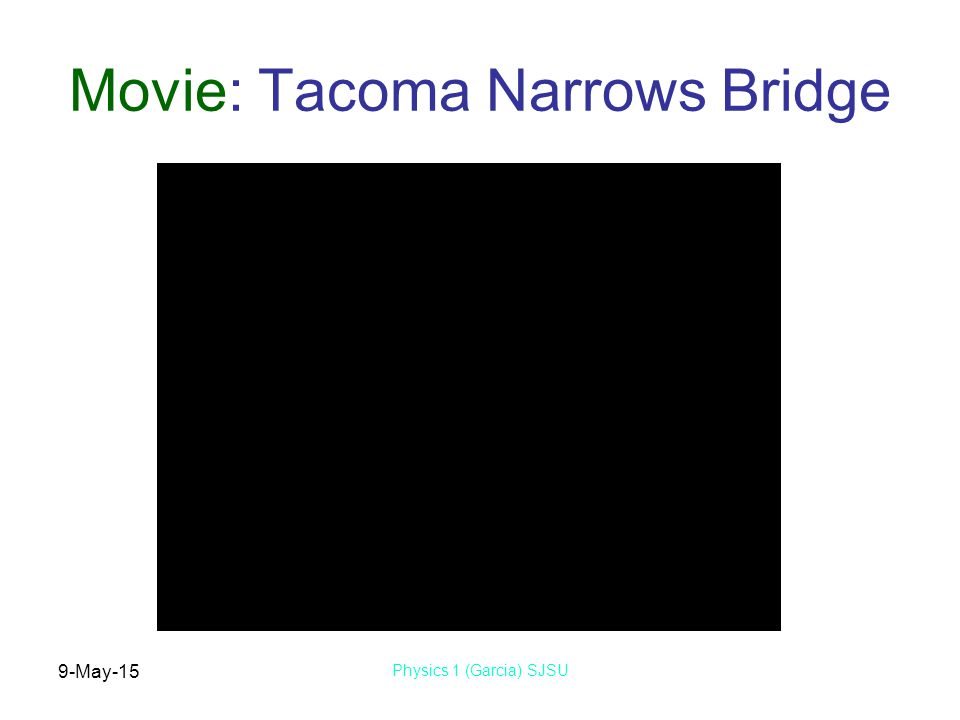 9-May-15 Physics 1 (Garcia) SJSU Movie: Tacoma Narrows Bridge
