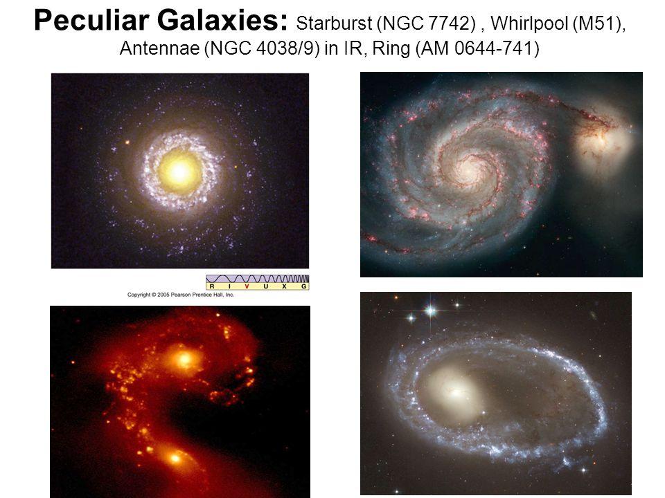 Peculiar Galaxies: Starburst (NGC 7742), Whirlpool (M51), Antennae (NGC 4038/9) in IR, Ring (AM 0644-741)