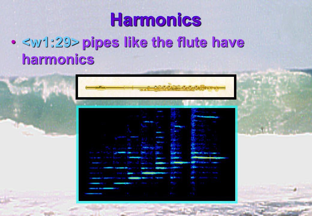 HarmonicsHarmonics pipes like the flute have harmonics pipes like the flute have harmonics