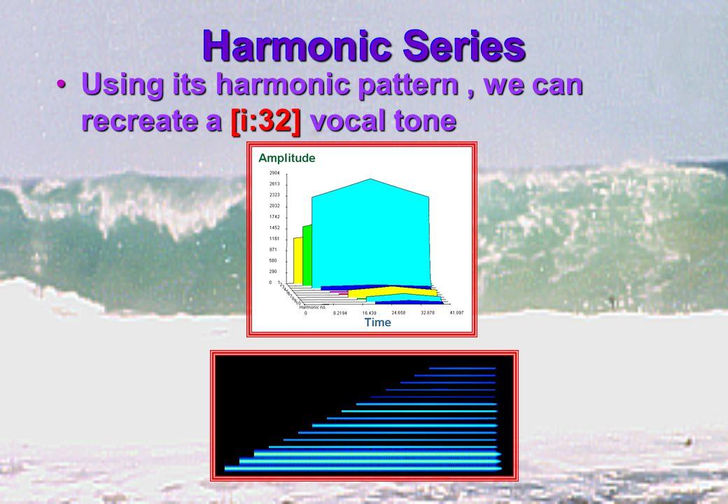 Harmonic Series Using its harmonic pattern, we can recreate a [i:32] vocal toneUsing its harmonic pattern, we can recreate a [i:32] vocal tone