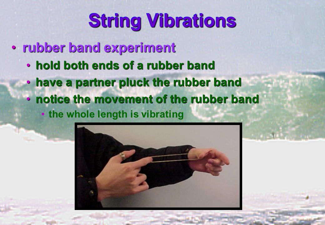 String Vibrations rubber band experimentrubber band experiment hold both ends of a rubber bandhold both ends of a rubber band have a partner pluck the rubber bandhave a partner pluck the rubber band notice the movement of the rubber bandnotice the movement of the rubber band the whole length is vibrating