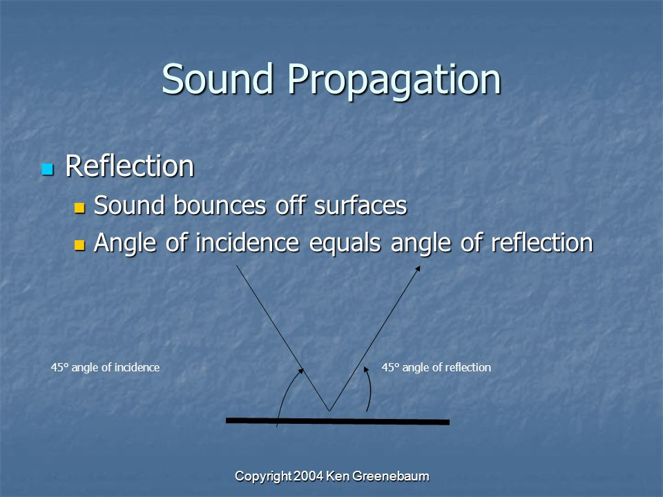 Copyright 2004 Ken Greenebaum Sound Propagation Reflection Reflection Sound bounces off surfaces Sound bounces off surfaces Angle of incidence equals angle of reflection Angle of incidence equals angle of reflection 45° angle of incidence45° angle of reflection