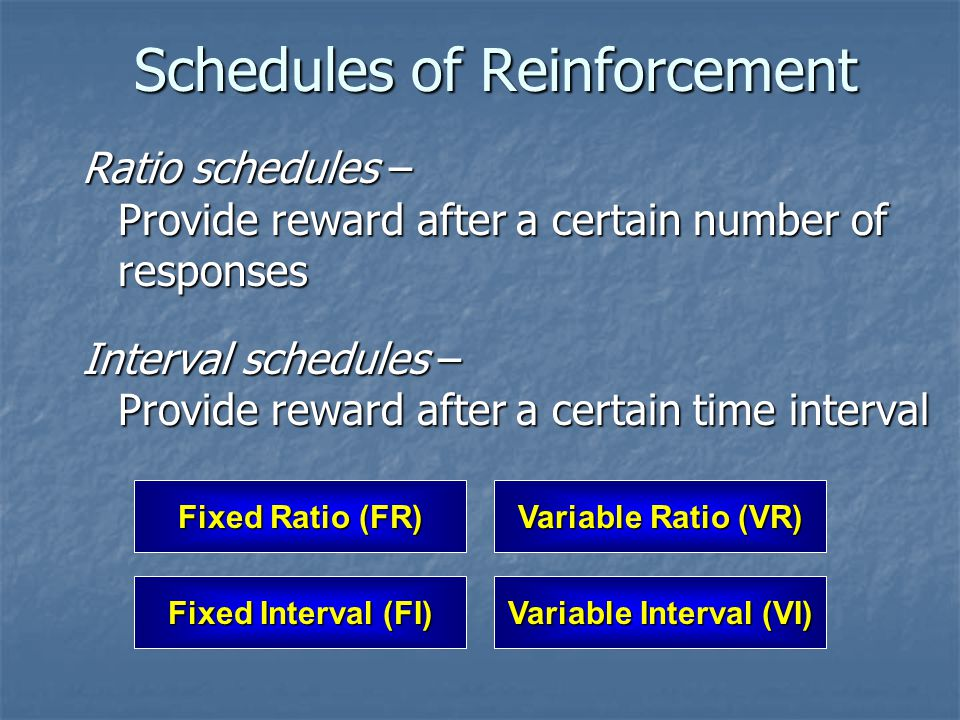 Schedules of Reinforcement Ratio schedules – Provide reward after a certain number of responses Interval schedules – Provide reward after a certain ti