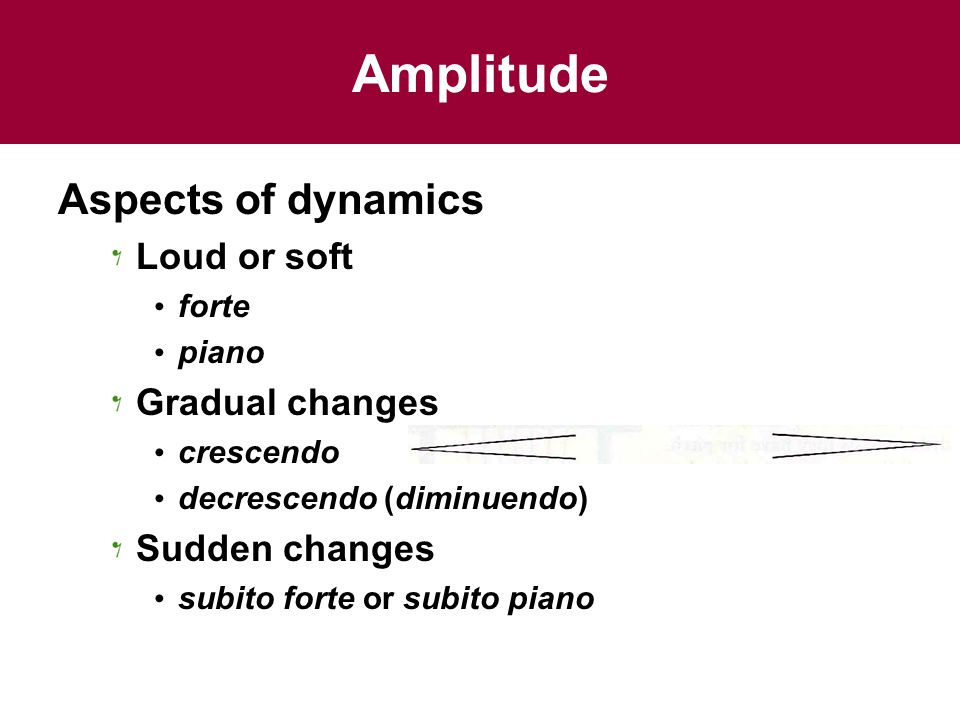 Amplitude Aspects of dynamics Loud or soft forte piano Gradual changes crescendo decrescendo (diminuendo) Sudden changes subito forte or subito piano