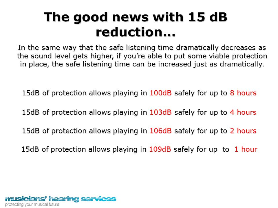 The good news with 15 dB reduction… 15dB of protection allows playing in 100dB safely for up to 8 hours 15dB of protection allows playing in 103dB saf