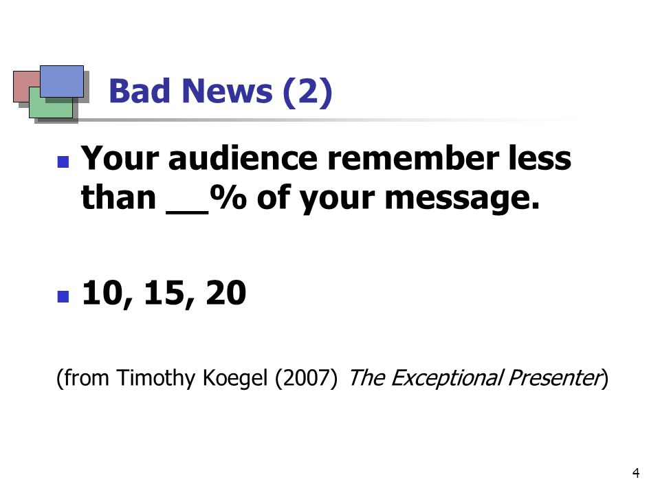 5 Bad News (3) The average adult's undivided attention span is ___.