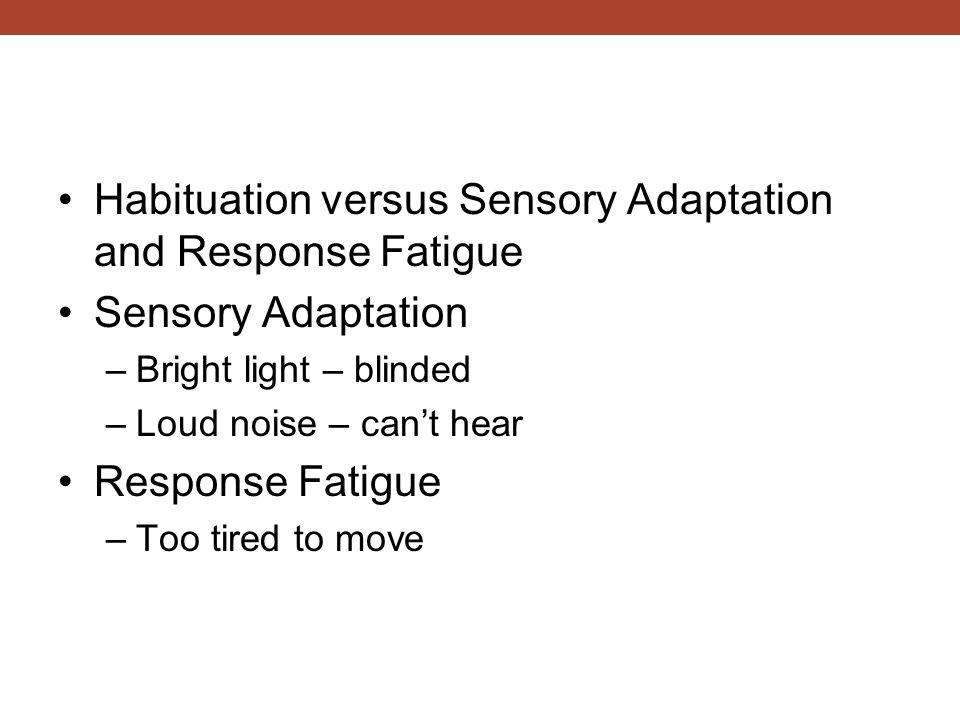 Habituation versus Sensory Adaptation and Response Fatigue Sensory Adaptation –Bright light – blinded –Loud noise – can't hear Response Fatigue –Too t