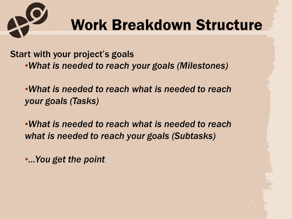 Start with your project's goals What is needed to reach your goals (Milestones) What is needed to reach what is needed to reach your goals (Tasks) What is needed to reach what is needed to reach what is needed to reach your goals (Subtasks) …You get the point Work Breakdown Structure