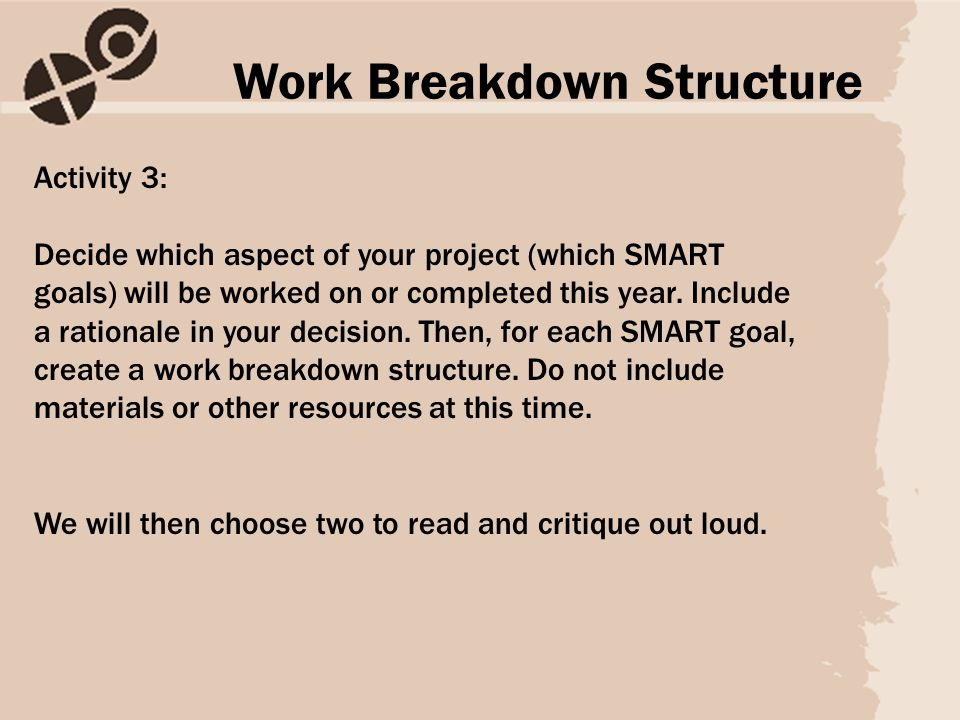Activity 3: Decide which aspect of your project (which SMART goals) will be worked on or completed this year.