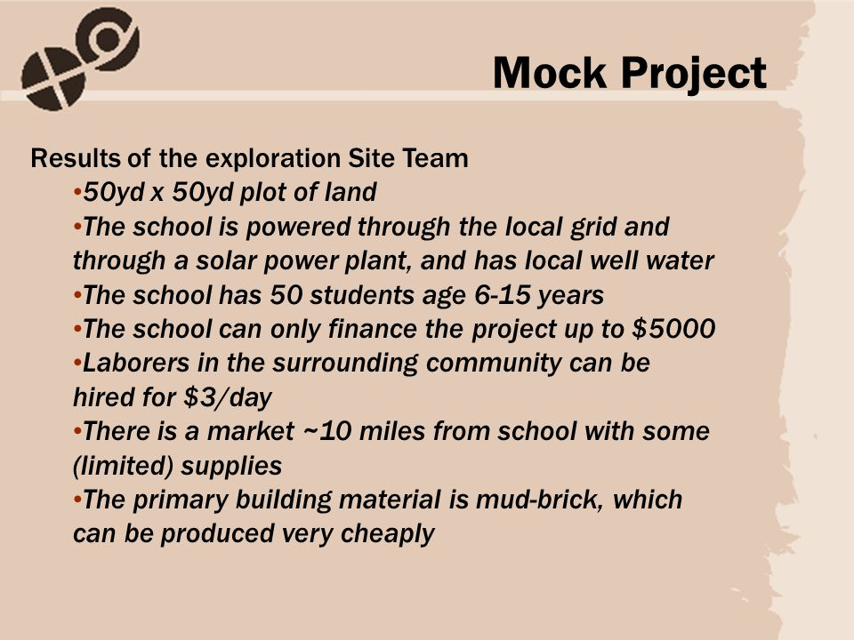 Results of the exploration Site Team 50yd x 50yd plot of land The school is powered through the local grid and through a solar power plant, and has lo