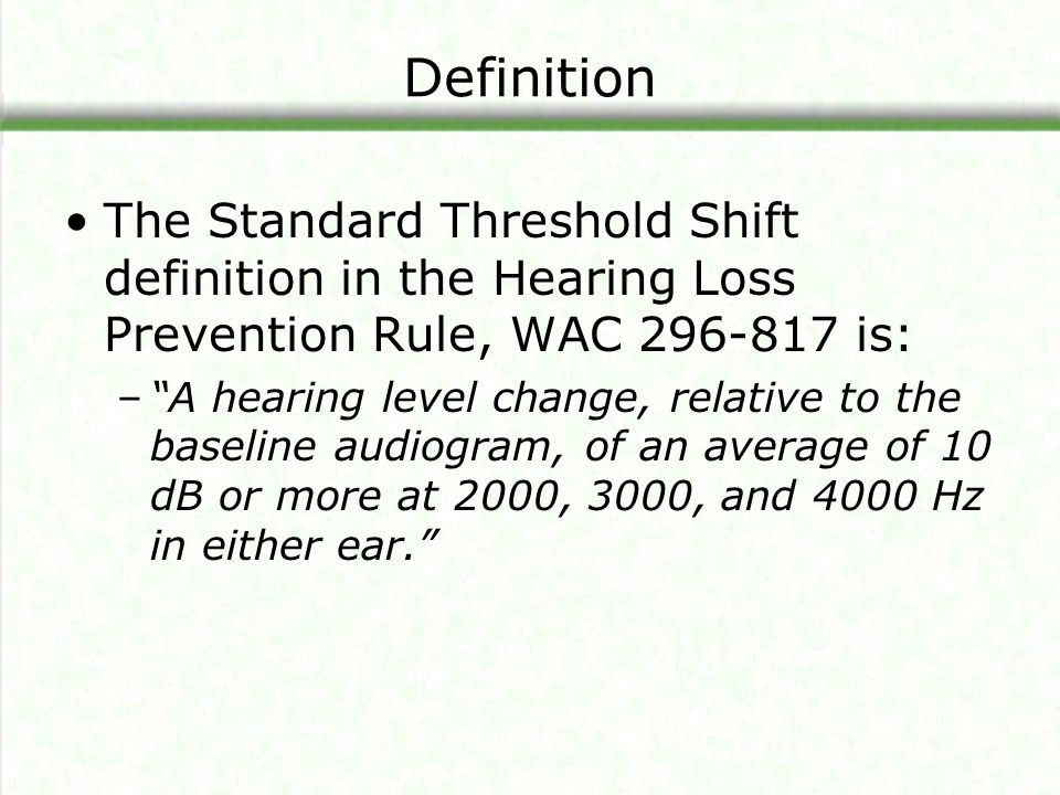 Calculation of STS The health care professional will look at your test results for the 2000, 3000 and 4000 Hz frequencies.