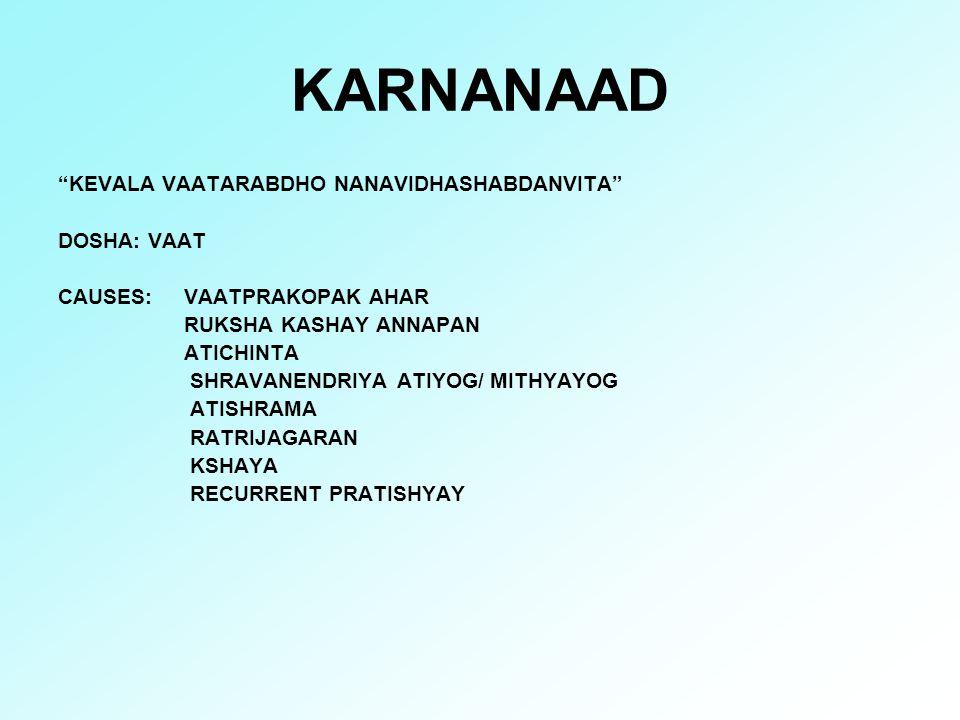 """KARNANAAD """"KEVALA VAATARABDHO NANAVIDHASHABDANVITA"""" DOSHA: VAAT CAUSES: VAATPRAKOPAK AHAR RUKSHA KASHAY ANNAPAN ATICHINTA SHRAVANENDRIYA ATIYOG/ MITHY"""