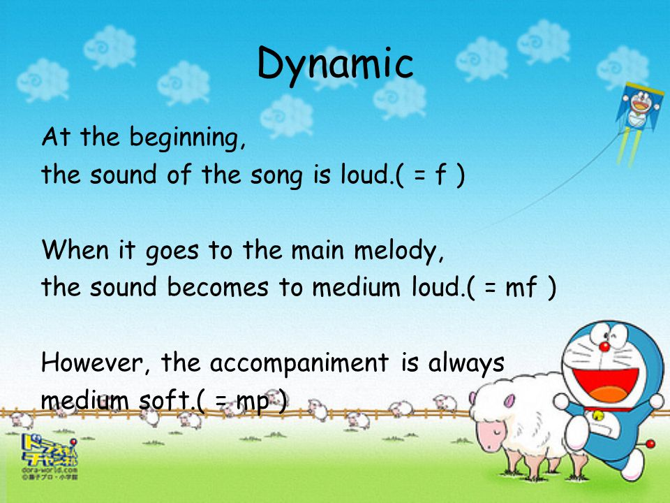 "Rhythm In the Introduction, the rhythm is quite fast and there are many triplet brackets. In the main melody, The rhythm is a medium ""walking"" speed A"