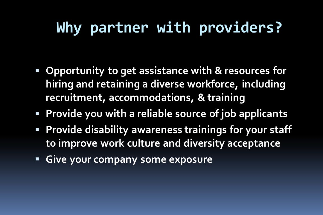 Why partner with providers.