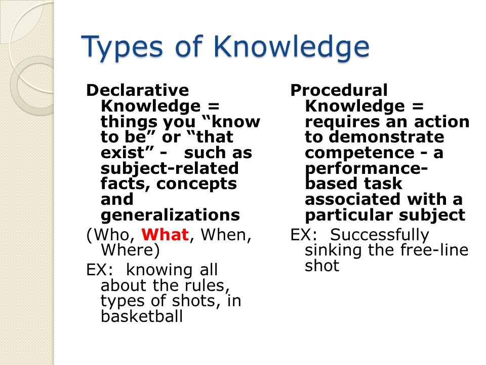 Types of Knowledge Declarative Knowledge = things you know to be or that exist - such as subject-related facts, concepts and generalizations (Who, What, When, Where) EX: knowing all about the rules, types of shots, in basketball Procedural Knowledge = requires an action to demonstrate competence - a performance- based task associated with a particular subject EX: Successfully sinking the free-line shot