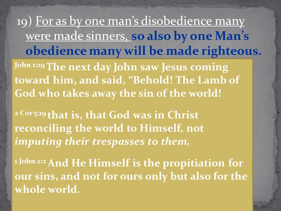 19) For as by one man's disobedience many were made sinners, so also by one Man's obedience many will be made righteous. John 1:29 The next day John s